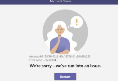 Codice errore Microsoft Teams caa30194