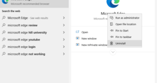 Si può disinstallare MS Edge su Windows 10
