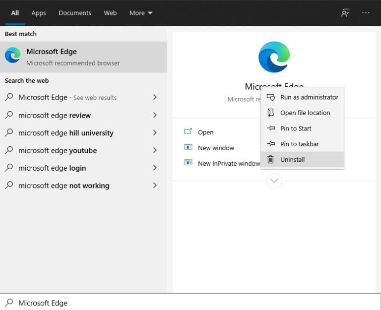 Si può disinstallare MS Edge su Windows 10